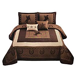 A cowboy bedspread/comforter with horses and stars