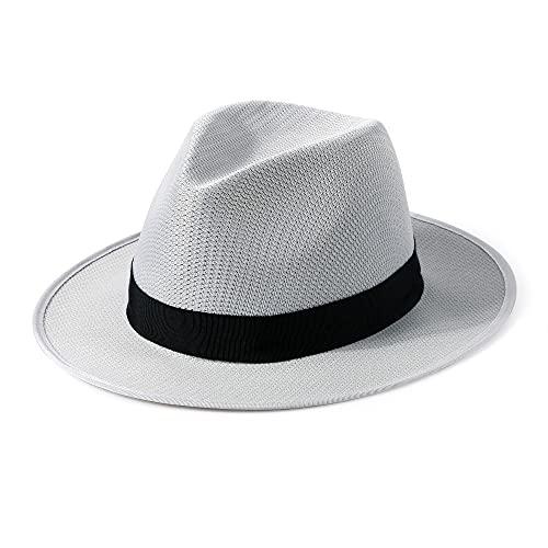 Mix Brown Sombrero de Panamá Unisex Empacable, Sombrero de Paja Fedora Verano Transpirable Sombrero Panamá de ala Ancha Ajustable para Vacaciones en la Playa Hombres Mujeres