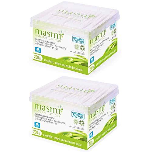 Masmi Bio Lot de 200 bâtonnets en coton biologique