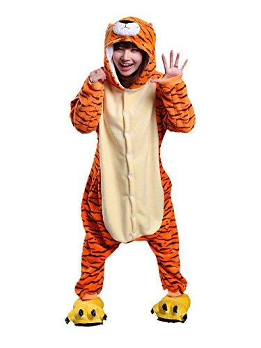 Mystery&Melody Unisex Tiger Pyjama Overall Pyjama Nachtwäsche Halloween Weihnachten Karneval Party Cosplay Kostüme für Erwachsene