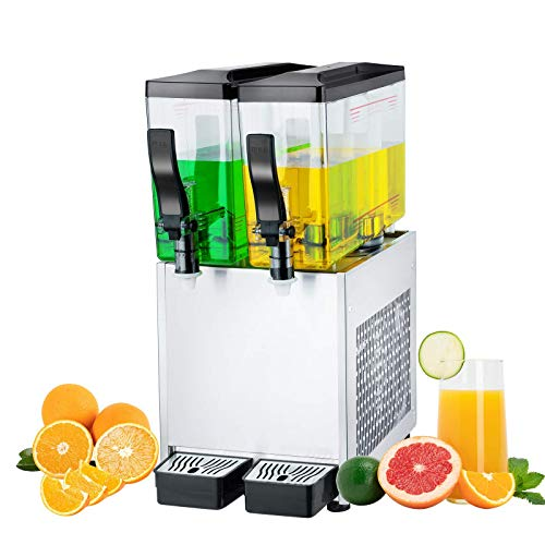 TECSPACE Commercial Cold Beverage Dispenser 2 Tanks 6.4 Gallon Stainless Steel Fruit Juice Beverage Dispensers 150W Ice Tea Drink Dispenser Equipped with Thermostat Controller