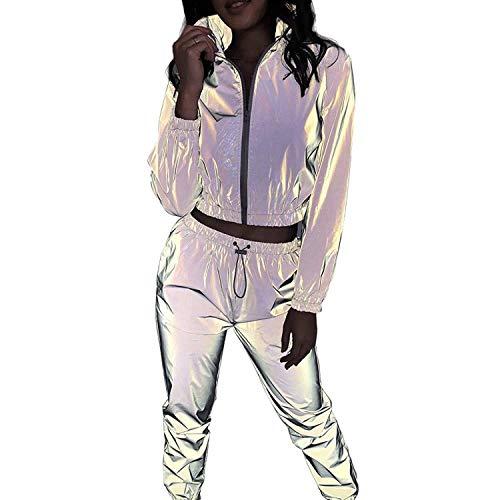 Dream night Ropa Reflectante Suéter Casual Mujer Sudadera Reflectante Chaqueta Comodo y Suave + Pantalones Largo Conjunto Ropa de Casa Hoodie de Deporte