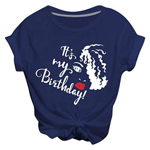 ZHANSANFM Damen T-Shirts Bauchfrei Teenager Mädchen Oberteile T-Shirts Kurzarm O-Neck Tops Tunika It's My Birthday Bedruckte Tshirts (M, Blau)
