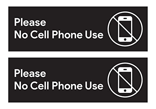 Please No Cell Phone Use Sticker Signs | Workplace Safety Signage for Cafe Counters, Registers, Vehicle Loading Areas, Gas Stations, and Restaurants (Pack of 2)