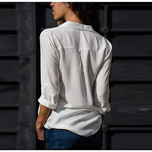 NSSYL dames-tops, blouse, tops, grote maten, lange mouwen, met V-hals, formel, elegant