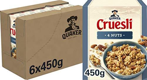 Quaker Cruesli 4 Noten, Doos 6 stuks x 450 g