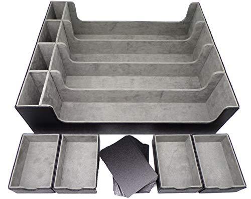 docsmagic.de Premium 4-Row Trading Card Storage Box Black + Trays & Divider - MTG PKM YGO - Tarjetas Coleccionables Caja de Almacenaje Negra