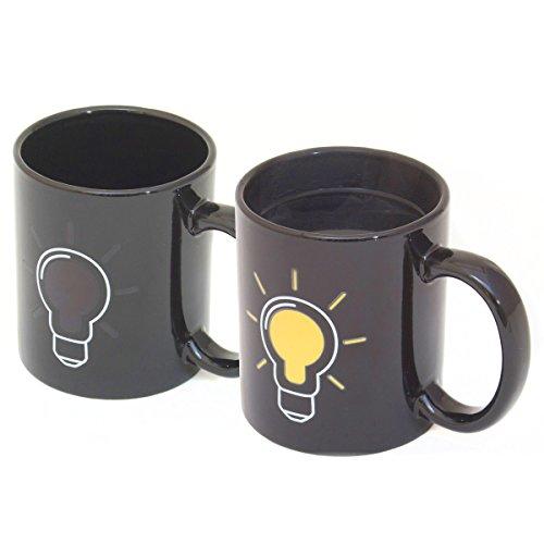 GOODS+GADGETS Glühbirnen Tasse mit Thermoeffekt Thermo Kaffeetasse Kaffeebecher mit Wärmeeffekt Farbwechsel