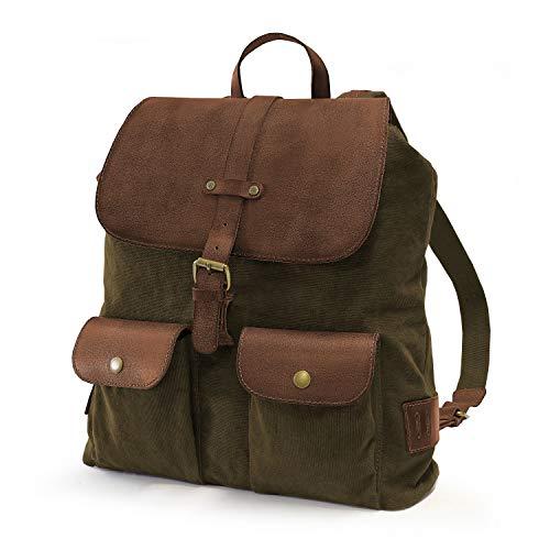 DRAKENSBERG Day Pack - Zaino puristico in design retrò vintage, per uomo e donna, realizzato a mano in qualità premium, 15L, tela e pelle, verde oliva, DR00139