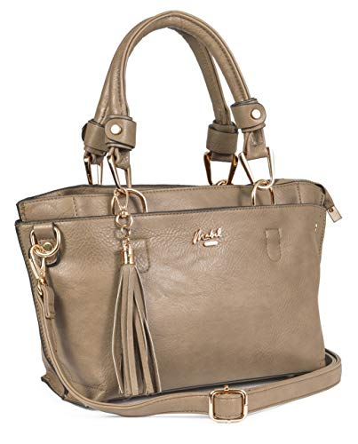 Big Handbag Shop LUCY - Borsetta da donna piccola con manico superiore, con mini tasche multiple, Marrone (Light Taupe), Taglia unica