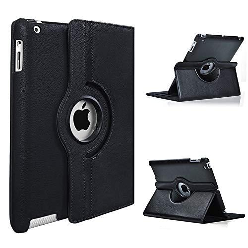 DETUOSI 360°Rotation Housse en Cuir pour Apple iPad 2 iPad 3 iPad 4 Coque Housse de Protection Etui Smart Cover Case avec Rabat Stand de positionnement Support(Noir)
