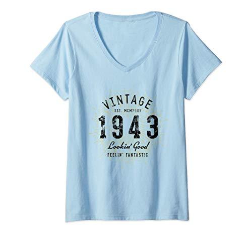 Donna Vintage 78° Compleanno Nato nel 1943 Maglietta con Collo a V