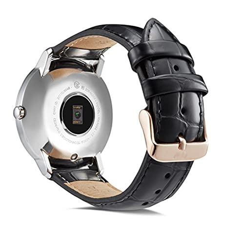 YONGLI KTAB Smart Accessories Band para Nokia Steel Correa De Cuero Genuino Reloj De Reemplazo Pulsera De La Banda para Conjillas HR 36mm40mm (Color : Black A, Size : 18mm for 36)