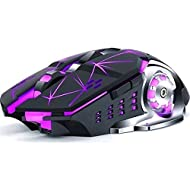 ISMMIK Divipard LED Wireless Mouse for Laptop, Rechargeable Computer USB Cordless Mice for PC Gaming...