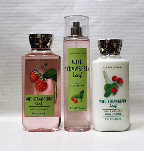 Bath and Body Works - Wild Strawberry Leaf - Shower Gel, Body Lotion, Fine Fragrance Mist Daily Trio Summer 2018