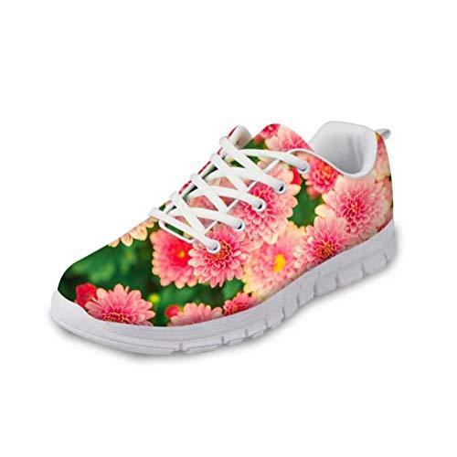 chaqlin Lace Up Fashion Sneakers Frauen Casual Sport Laufschuhe für Damen Mädchen Leichte Outdoor Fitness Trainer mit Blumenmuster Größe UK6 = Eur38