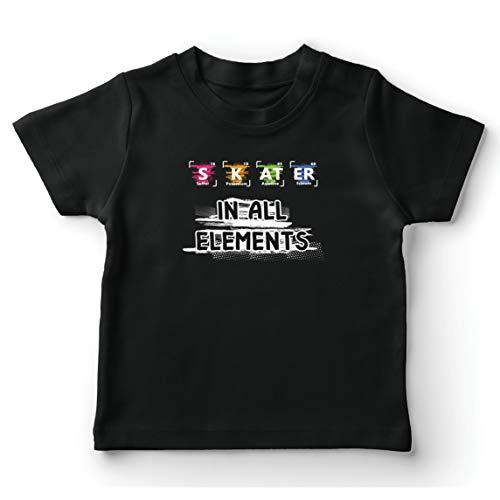lepni.me Camiseta para Niño/Niña Patinador en Todos los Elementos Química Periódica de Mesa Deporte