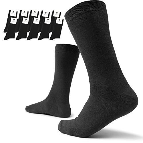 Burnell & Son Socken für Herren & Damen 10er Pack Baumwolle Schwarz 43-46