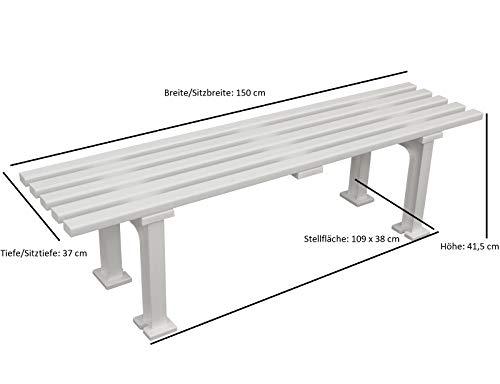 Kunststoff – Sitzbank MONO ohne Lehne 150cm, weiß - 2