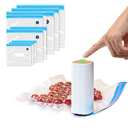 Sellador al vacío de alimentos portátil, sellador al vacío de alimentos inalámbrico de mano con 10 bolsas de sellado al vacío reutilizables para cocinar al vacío y almacenar alimentos