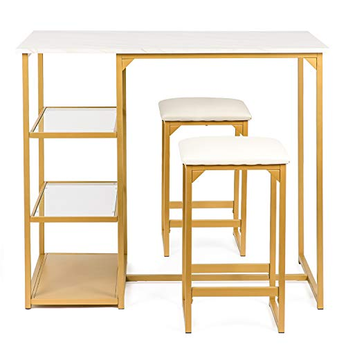 BAHOM 3 Piece Bar Table Set, Bistro Restaurant Dining Table Set with 2 Bar Stools for Home, Kitchen, Bar - Golden (Golden)