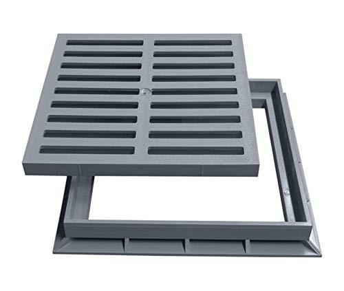Marley Einlaufrost Rost mit Rahmen 30x30cm begehbar für Einlaufschacht Hofablauf Gully PVC
