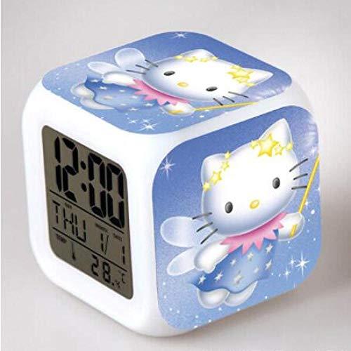 shiyueNB pour Enfants LED Réveil Numérique Kitty reloj despertador Horloge Veilleuse Montre Calendriers numériques Montre