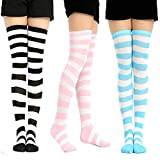 TianBo 3-4 Pairs Womens Thigh High Socks Cotton Striped Over the Knee Socks Long Knee High Socks for Women girl (B-3 pairs)