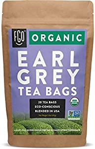 Organic Earl Grey Black Tea Bags   20 Tea Bags   Chinese Keemun, Indian Assam & Italian Bergamot Blend   Eco-Conscious Tea Bags in Kraft Bag   by FGO