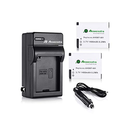 Powerextra 2 Pack 1400mAh Rechargeable Replacement Battery and Charger Compatible with GoPro HD Hero 2 Camera and GoPro AHDBT-001, AHDBT-002