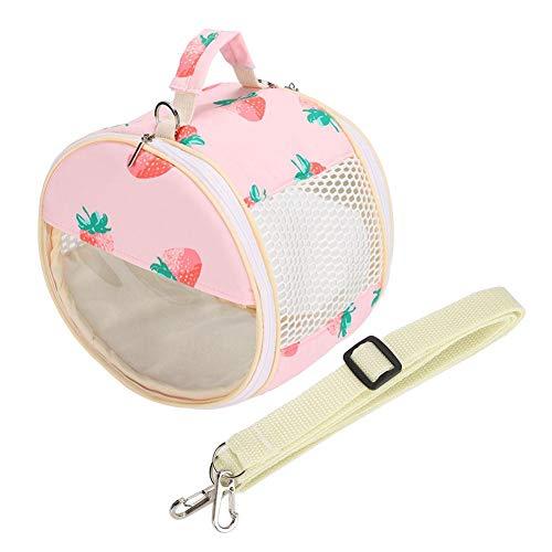 Atyhao Hamster Tragetasche, transparente kleine Haustier Reisetasche Ausgehende Tasche für Zuckersegelflugzeuge Hamster Golden Hamster Eichhörnchen Papageien Igel(Rosa Erdbeere)
