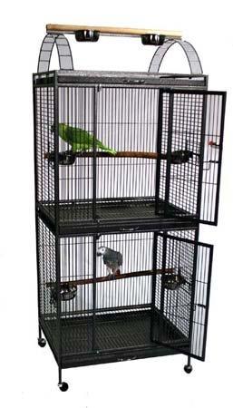 Extra Large Double Stackable Decker Bird Parrot Cage - 30' X 24' X 74' (BlackVein)