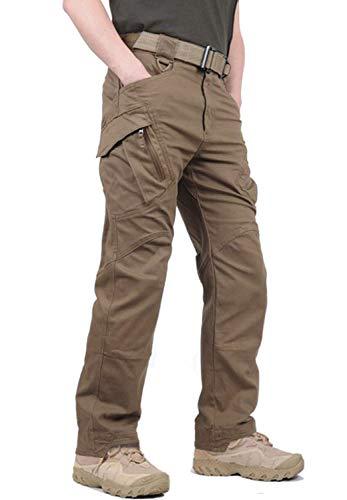 KEFITEVD Outdoor Hose Herren Militär Hose Cargo Hose Taktisch Hose Winter Arbeitshose Männer Outdoor Rip-Stop Hose US Army Pants Regular Fit Angelhose Braun 34 (Etikett: XL)