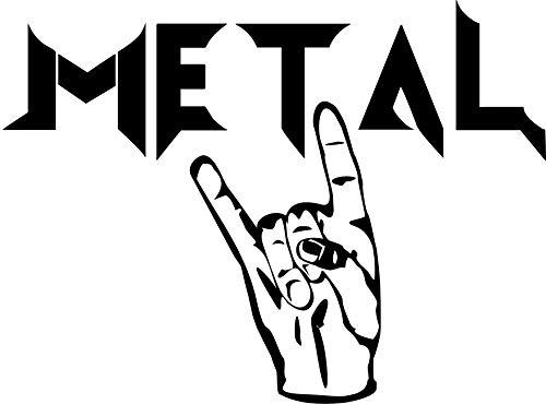 'Metal' – Pommesgabel – Heavy Metal – Deathmetal – Musik – Music// Autoaufkleber // verschiedene Farben und Größen (Weiß - 290 mm x 210 mm)