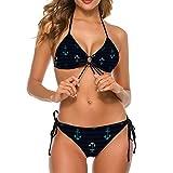 Damen Zweiteiler Dreieck-Bikini Badeanzug Anker Streifen Design Illustration Sexy Kostüm Bademode Verstellbare Träger für Schwimmen für Strand Gr. XL, stil 1