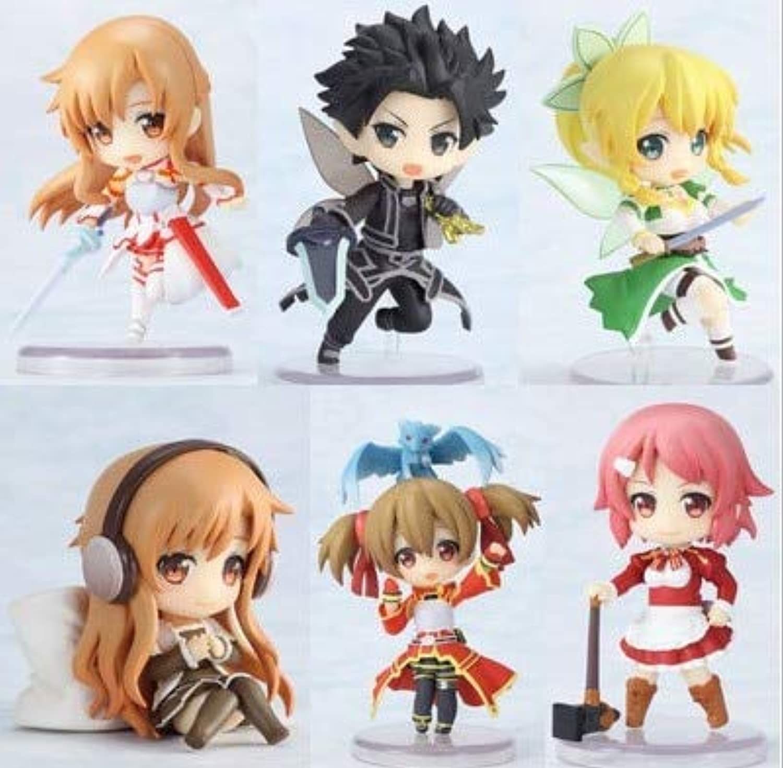 Allegro Huyer Sword Art Online Fairy Dance Kirito Asuna Lefa Figurine PVC Action Figures Juguetes Collection Model Kids Toys 6pcs Set 2.5  6CM (No retailed Box)