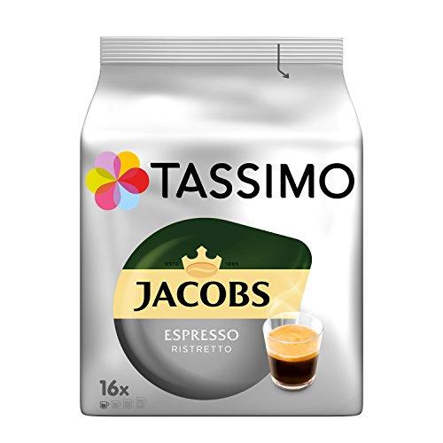 Tassimo Kapseln Jacobs Espresso Ristretto, 80 Kaffeekapseln, 5er Pack, 5 x 16 Getränke