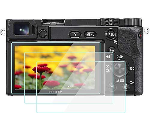 A6600 Displayschutzfolie kompatibel für Sony Alpha a6600 a6400 a6300 A6100 a6000, Komet Displayschutzfolie aus gehärtetem Glas für Touchscreen (2 Packungen)