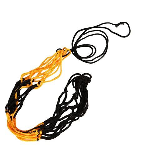 PDPDE Nylon Net Bag Ball Carry Malla para el fútbol del Baloncesto del Baloncesto del fútbol Multi Sport Juego al Aire Libre Duradero estándar Blackyellow