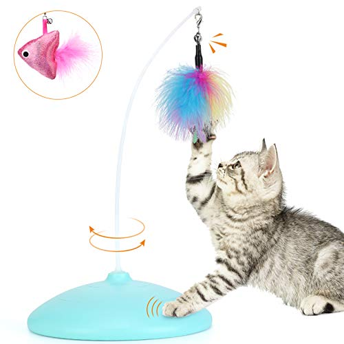 Zutesu Interactive Feather Teaser Cat Toy, Puzzle Brain Teaser Self Rotating Cat Toy Smart Automatic Cat Toy for Indoor Cat Stimulate Hunting Instinct (Blue)