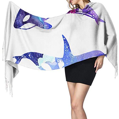 DISADI Bufanda de cachemir con estampado de ballena asesina de Orca, bufanda con borlas, bufanda grande, suave y cálida, 77 'x 27'