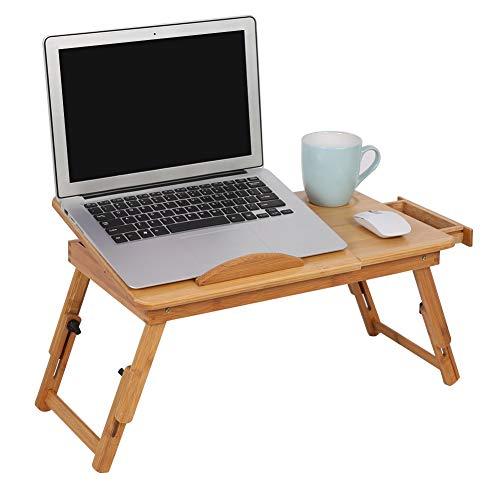 AYNEFY Mesita de cama, ordenador de madera, portátil, plegable, portátil, de bambú, inclinable, altura ajustable