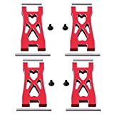 Hobbypark Aluminum Front & Rear Lower Suspension Arms for 1/10 Redcat Blackout XTE Upgrade Parts, fit XBE SC Pro, Replace BS213-007 / BLH-0002GM (4-Pack) (Red)