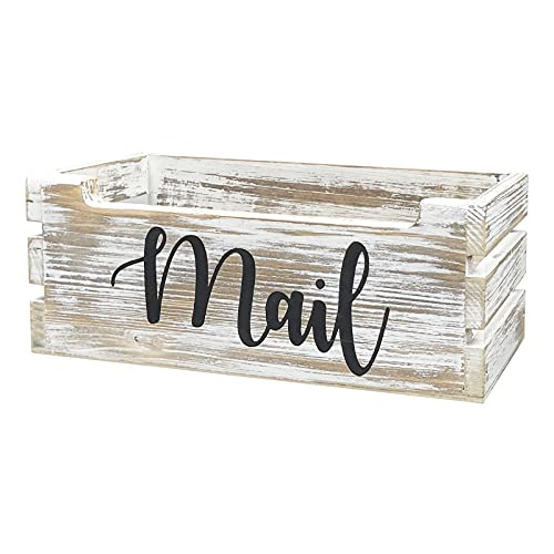 Rustic Wood Tabletop Mail Holder Box, Desktop Mail Organizer, Farmhouse Mail Organizer Countertop, Mail Holder,Letter Holder, Mail Storage Box, Bill Coupon Organizer, Letter Sorter Tray, Whitewashed