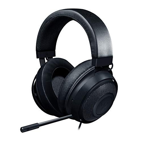 Razer Kraken - Auriculares Gaming con cable para juegos multiplataforma para PC, PS4, Xbox One & Switch, Diafragma 50 mm, Cable de 3.5mm con controles de línea, Negro