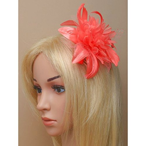 Coral Fascinator on Headband/ Clip-in for Weddings, Races and Occasions-5881