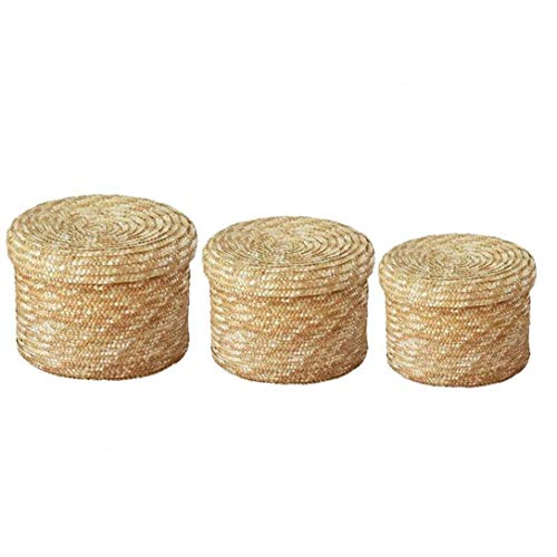 Berryhwo Woven Basket,Straw Storage Box with Lid Round Finishing Organizer for Living Room Bedroom Desktop Cosmetic Snack(S M L) 3Pcs
