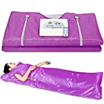 Lilypelle Sauna Blanket, Professional Far-Infrared Heat Sauna Heating Blanket with 50pcs Plastic Sheetings, 2 Zone Controller, Anti Ageing Beauty Machine for Body Shape Slimming Detox Sp