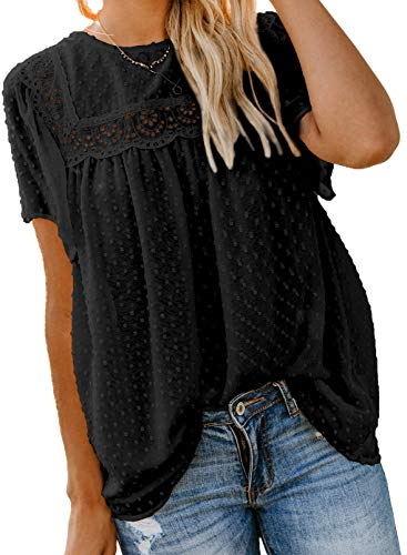 Astylish Women's Fashion Summer Short Sleeve Tops Round Neck Lace Hem Basic Tee Shirts Pom Pom Chiffon Flowy Blouses Boho Clothing for Women Black L