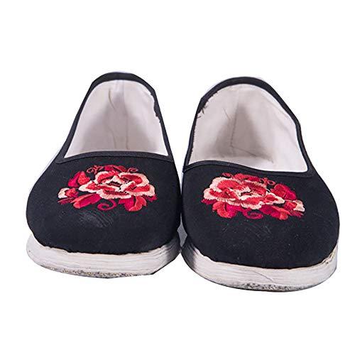 RTY Kung-Fu-Hausschuhe mit weichen Kissenschichten, Chinesische Kampfkunst Tai Chi-Schuhe mit Blumenmuster,Schwarz,40